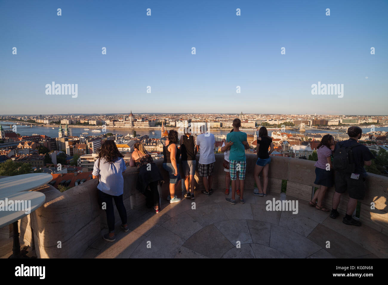 Group of tourists on Fisherman's Bastion viewpoint terrace overlooking city of Budapest in Hungary, Europe, - Stock Image