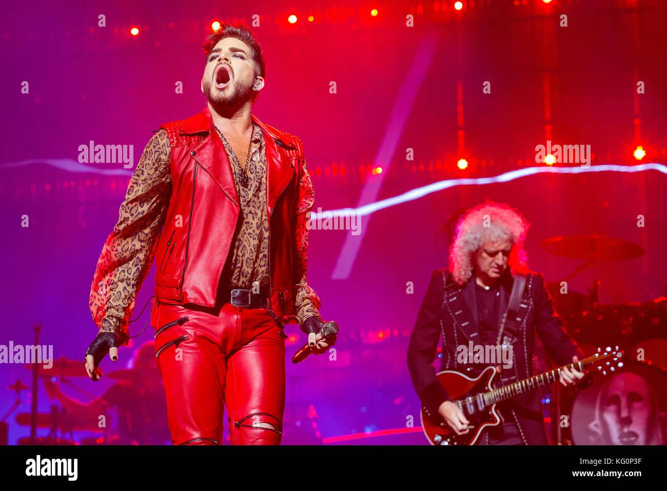 Singer Adam Lambert, left, and guitarist Brian May of British group Queen perform during the concert in Prague, - Stock Image