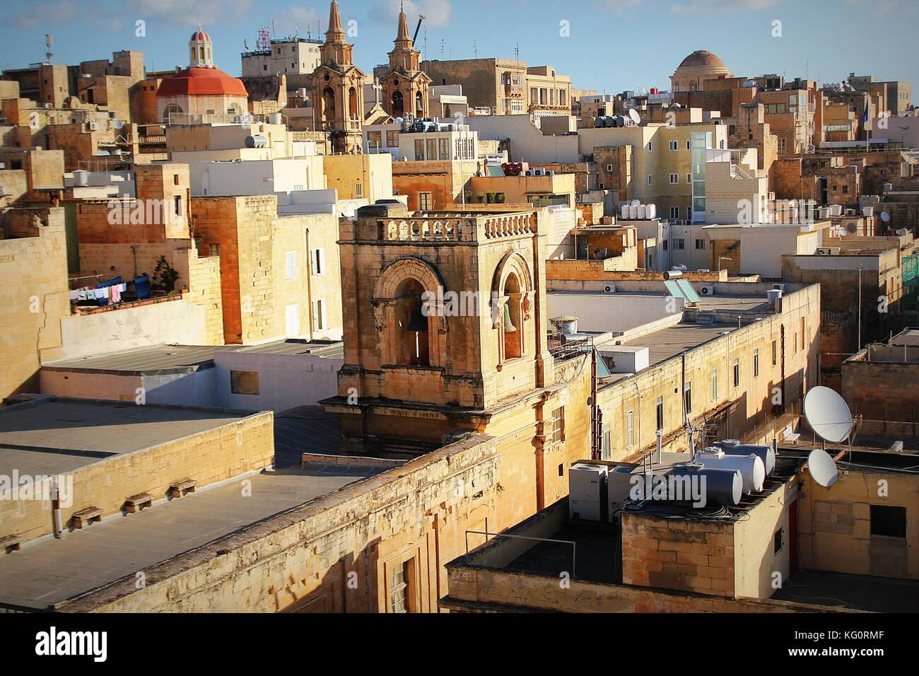 Panoramic view over the Grand Harbour hotel in Valletta, Malta . Bell tower of Santa Marija ta' Gesu Church Stock Photo