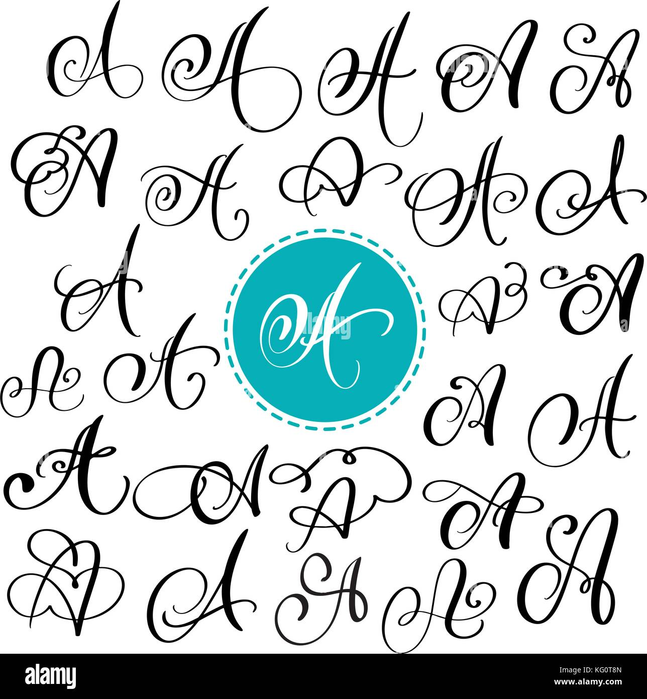 Set of Hand drawn vector calligraphy letter A. Script font