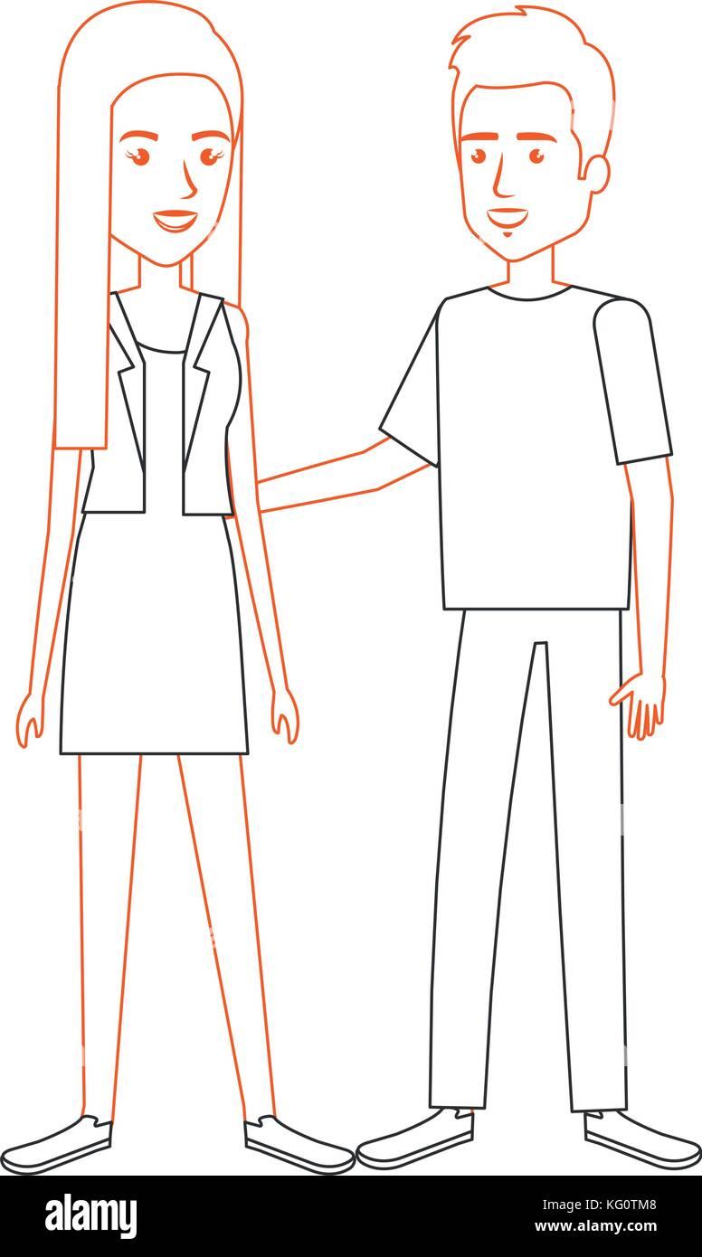 lovers couple avatars character - Stock Vector