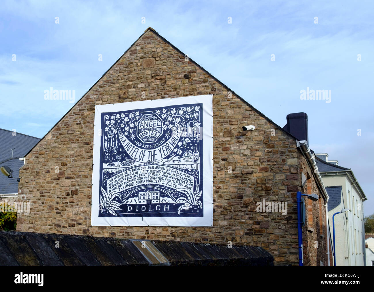 Abergavenny, a small town in Monmouthshire WalesUK Angel hotel - Stock Image