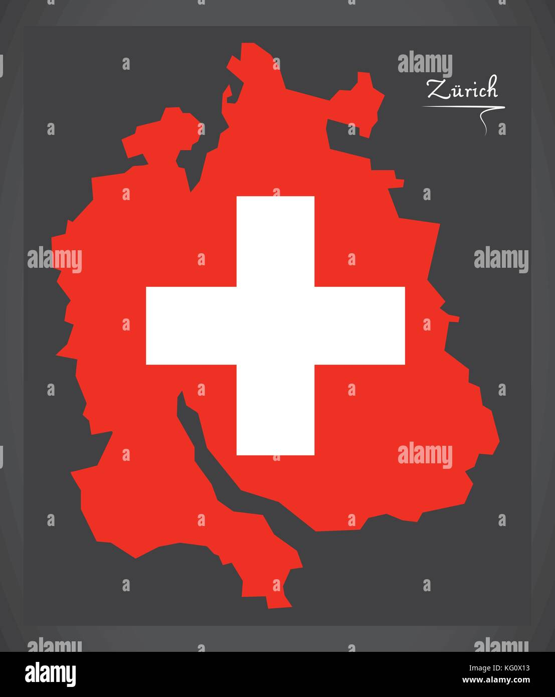 Zuerich map of Switzerland with Swiss national flag illustration - Stock Vector