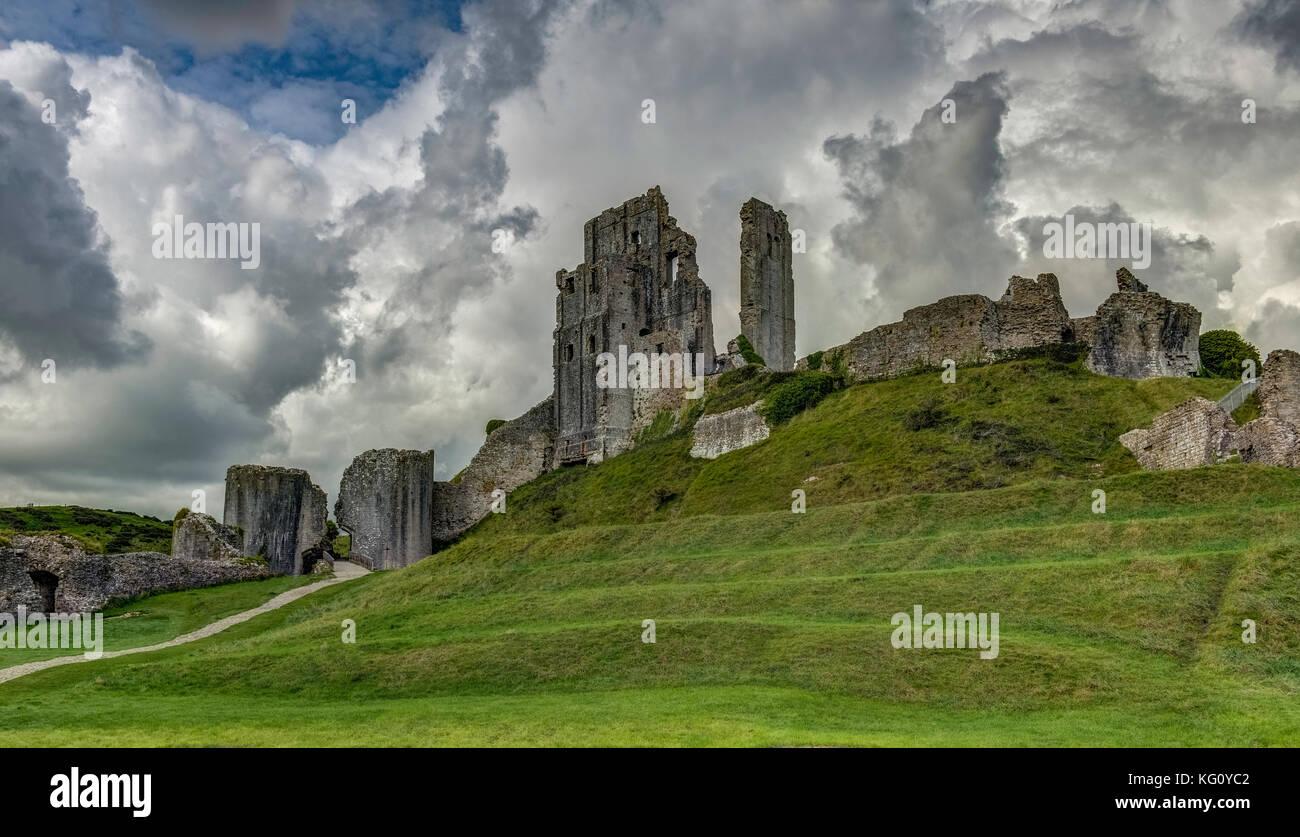 The ruins of Corfe Castle, Dorset, England, United Kingdom, Europe - Stock Image