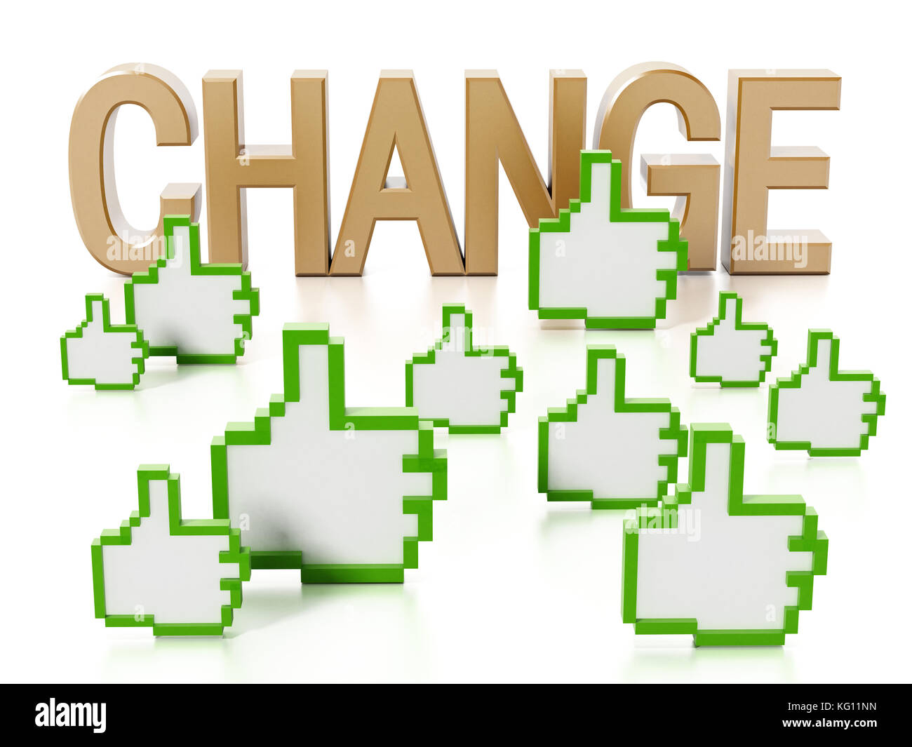 Thumbs up icons and change text. 3D illustration. - Stock Image