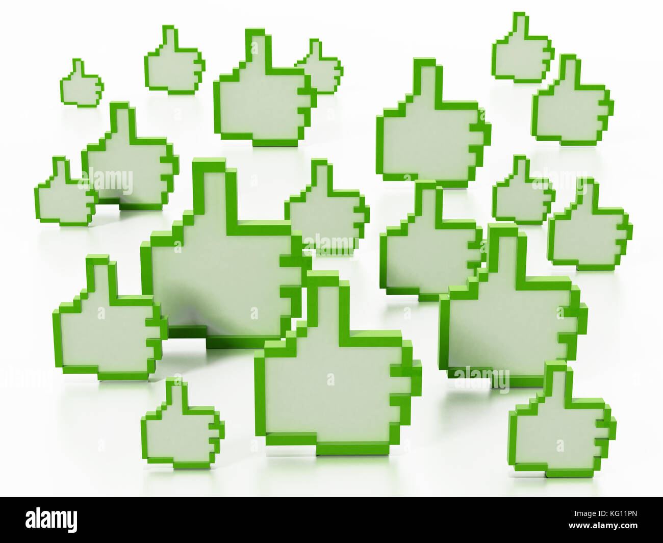 Thumbs up icons isolated on white background. 3D illustration. - Stock Image