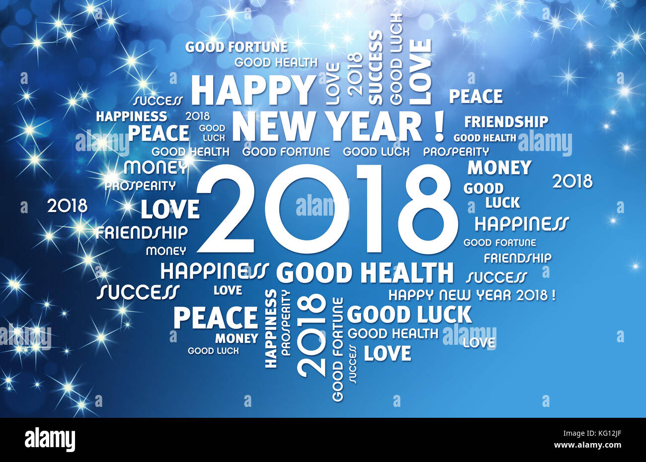 greeting words around year 2018 typescript on a festive blue background stock image