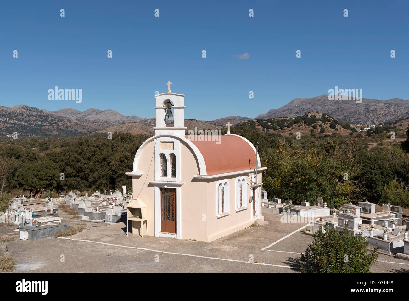 Chapel and cemetery at Plati on the Lasithi plateau, Crete, Greece, October 2017 - Stock Image
