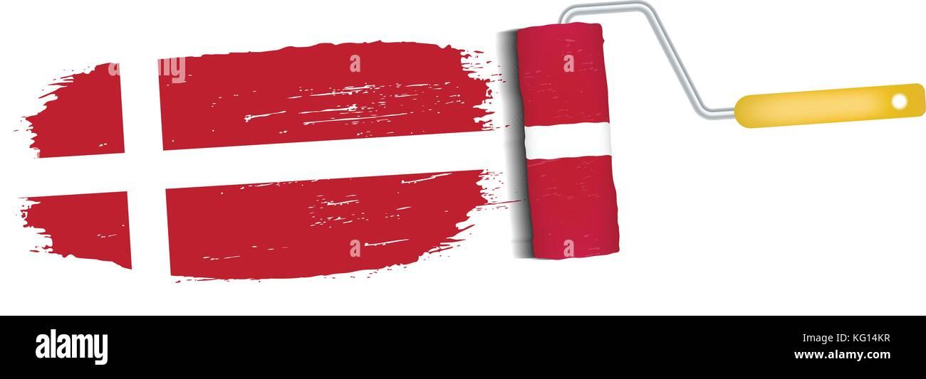 Brush Stroke With Denmark National Flag Isolated On A White Background. Vector Illustration. - Stock Image