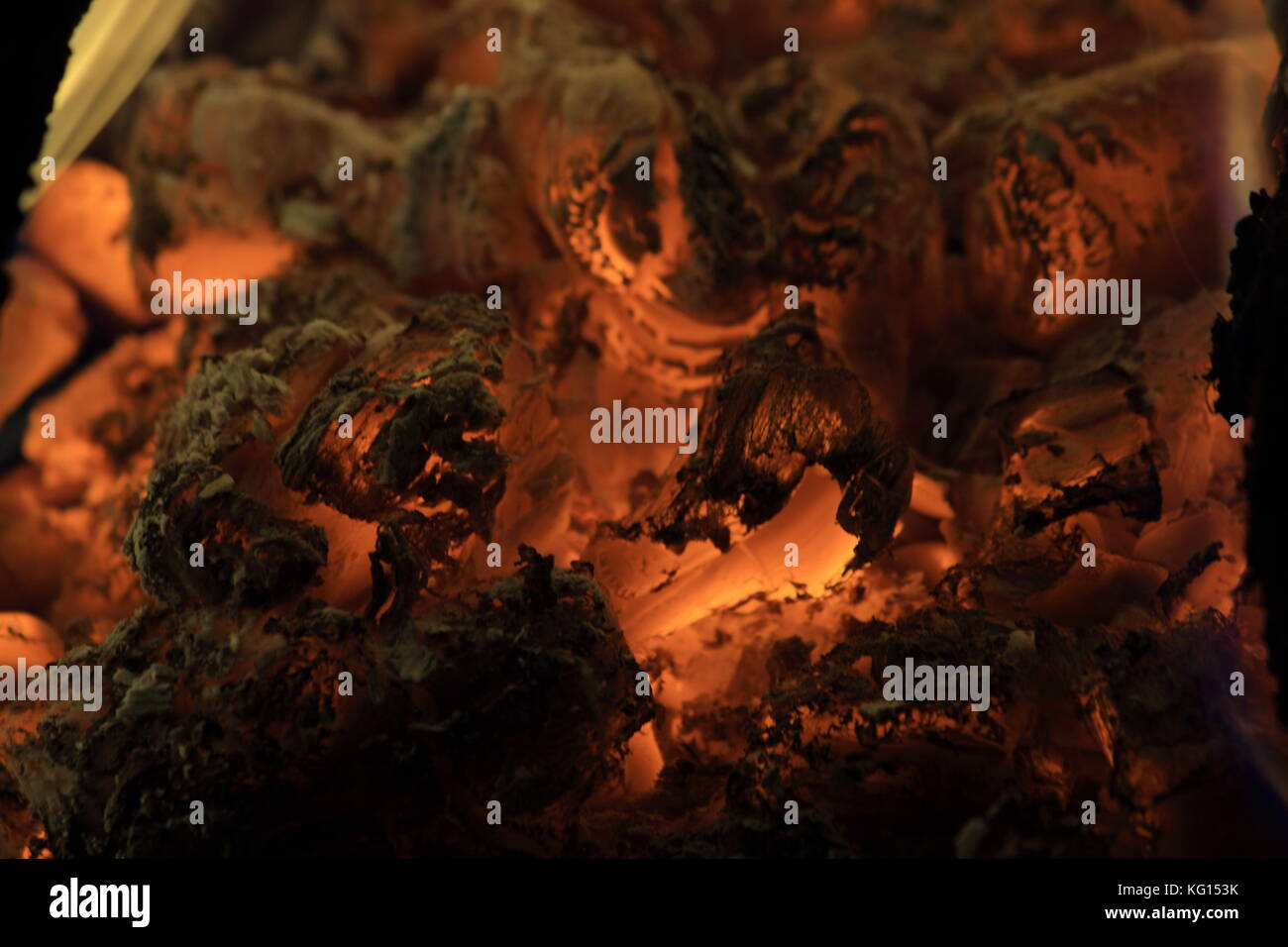 camp fire burning from coal wood in the night - Stock Image