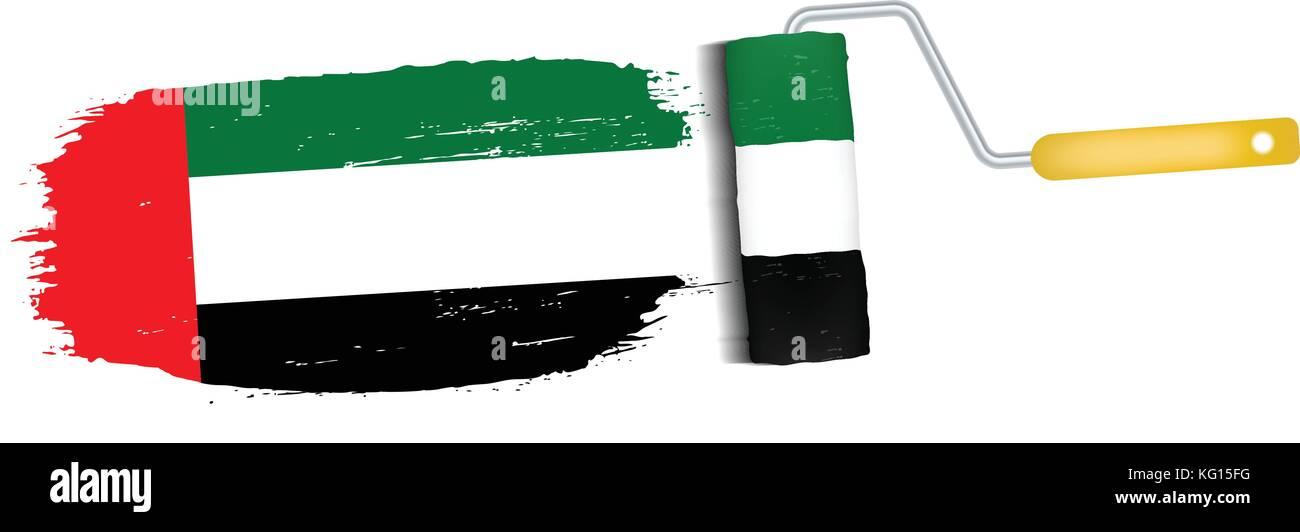 Brush Stroke With United Arab Emirates National Flag Isolated On A White Background. Vector Illustration. - Stock Image