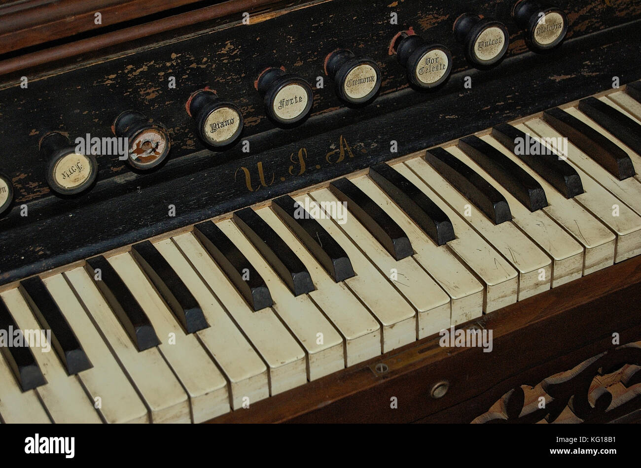 Old vintage pipe organ - Stock Image