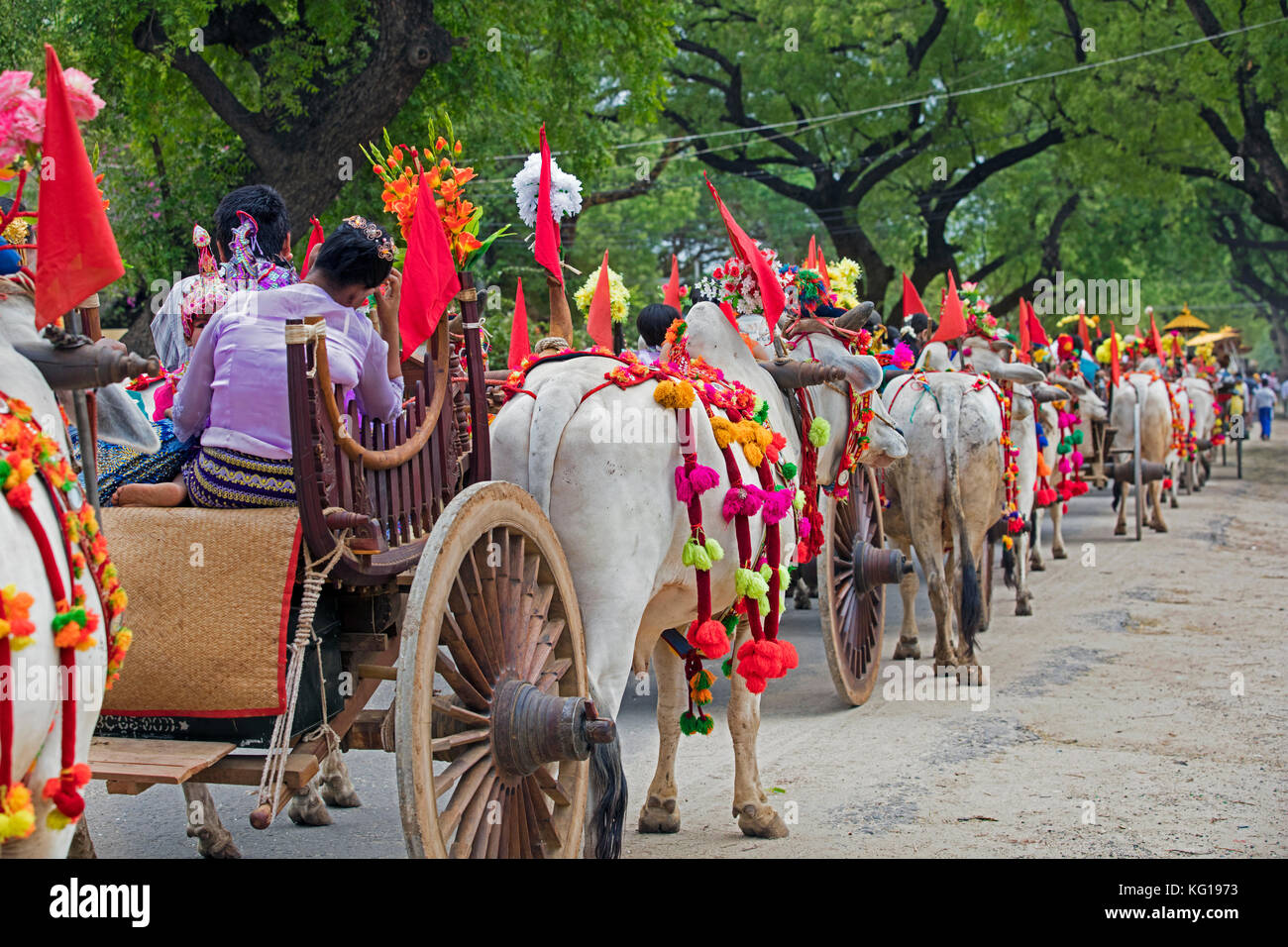 Traditional parade for Burmese children becoming a novice monks in the city Bagan / Pagan, Mandalay Region, Myanmar - Stock Image