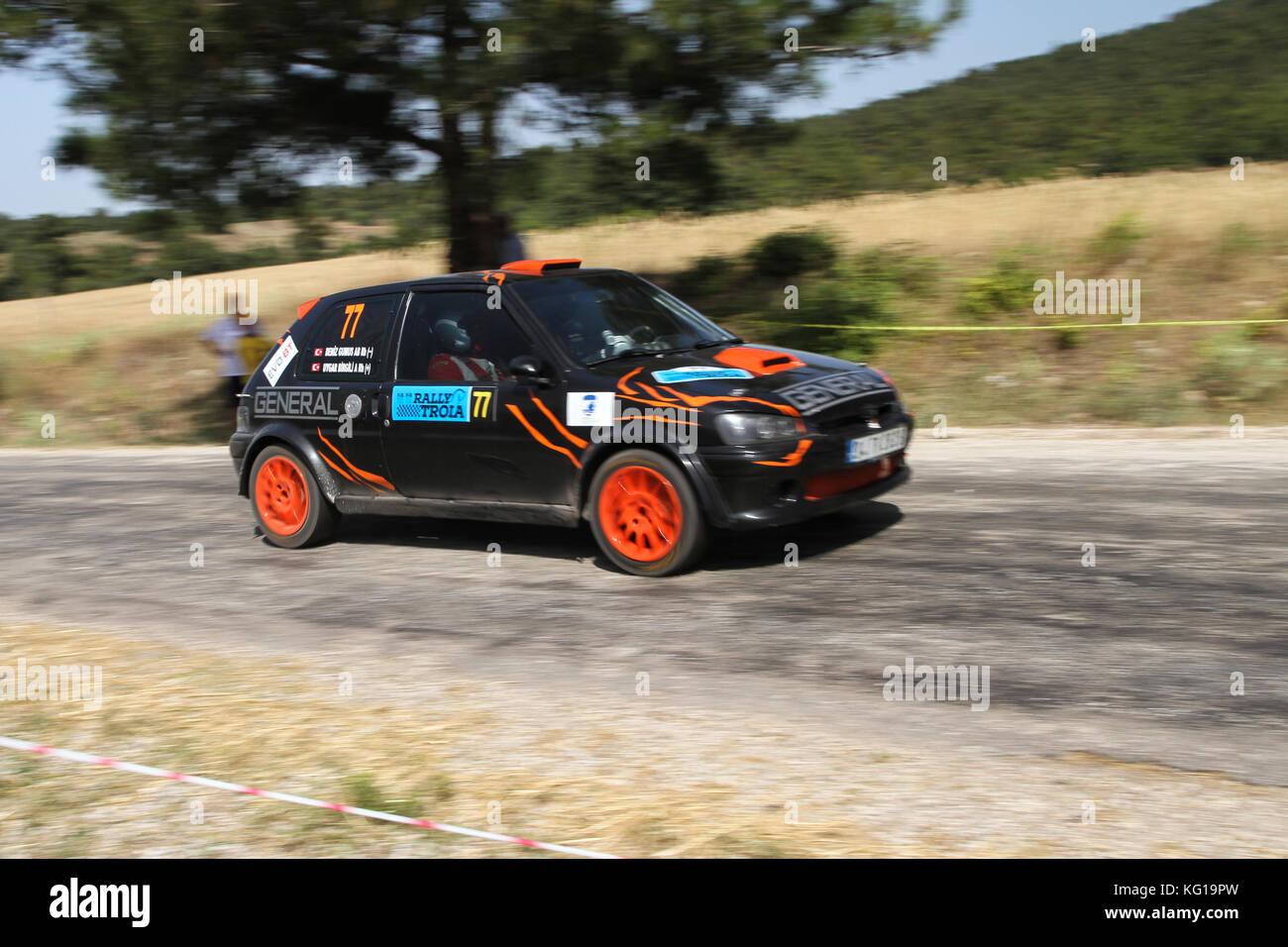 Canakkale Turkey July 01 2017 Uygar Bilgili Drives Peugeot 106 Stock Photo Alamy