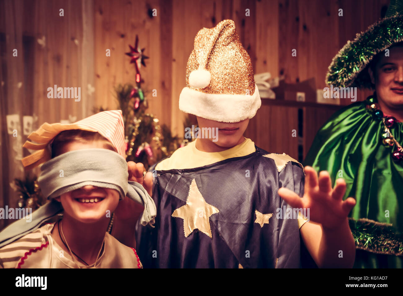 Children carnival party during Christmas holidays celebration - Stock Image