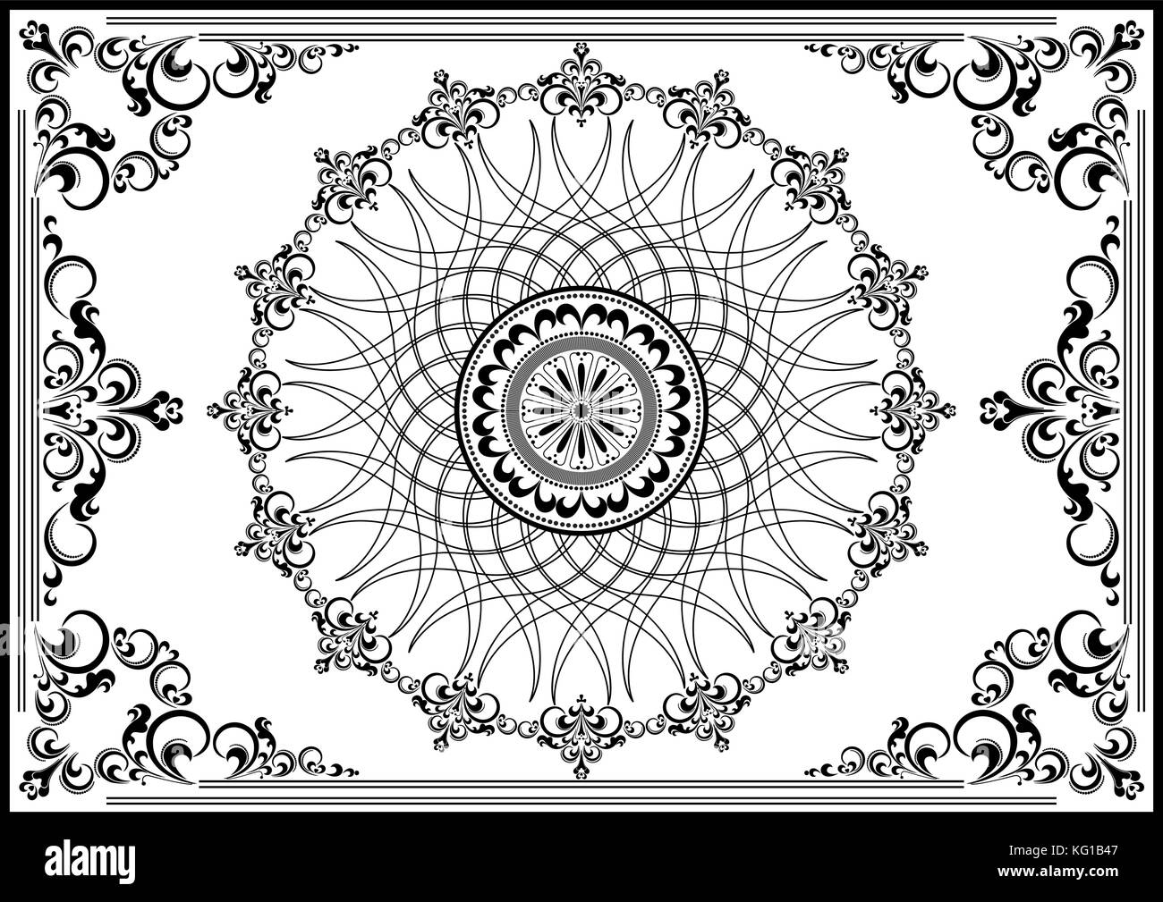 Luxury vintage frame with black ornament on white background - Stock Image