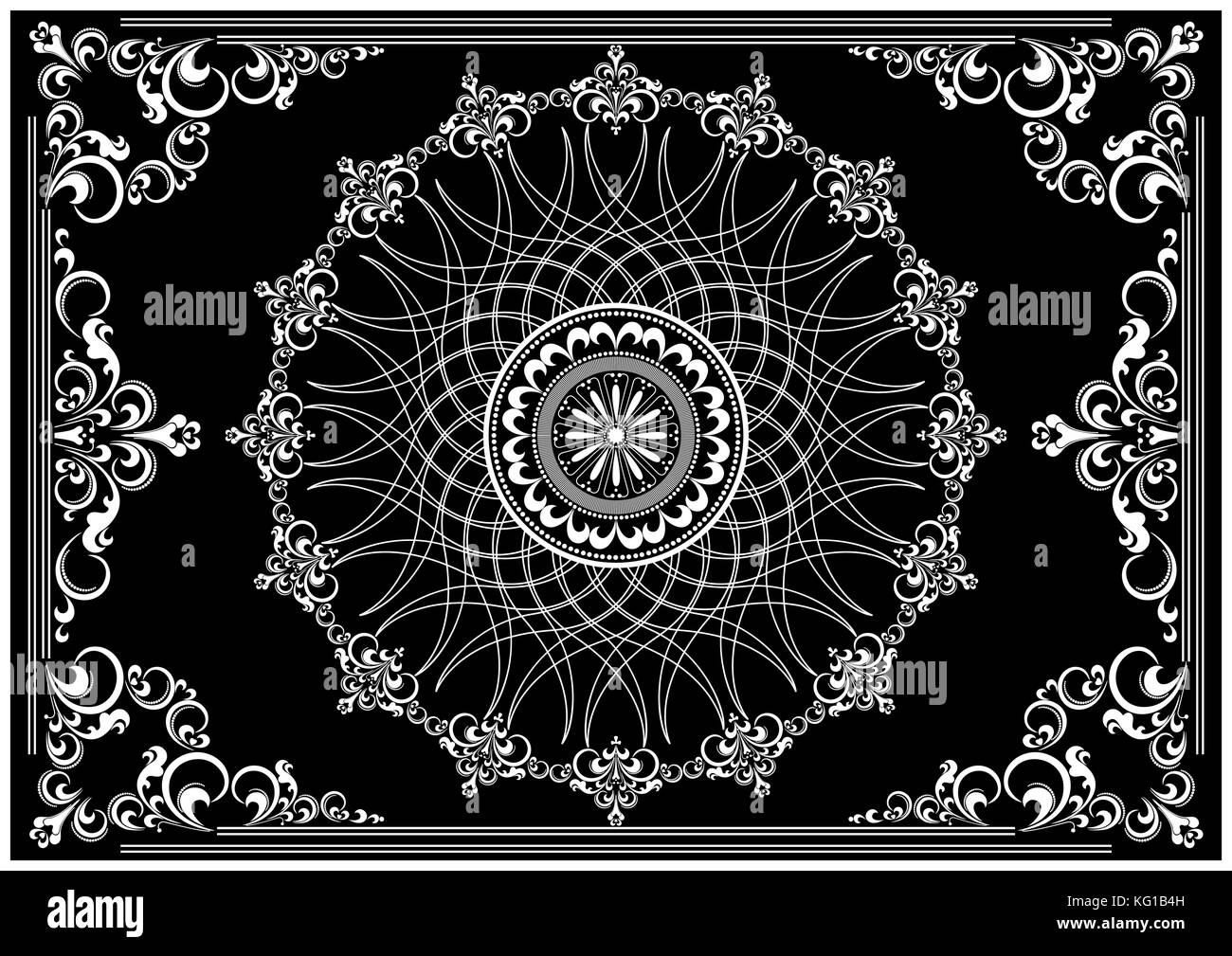 Luxury vintage frame with white ornament on black  background for decoration pages - Stock Image