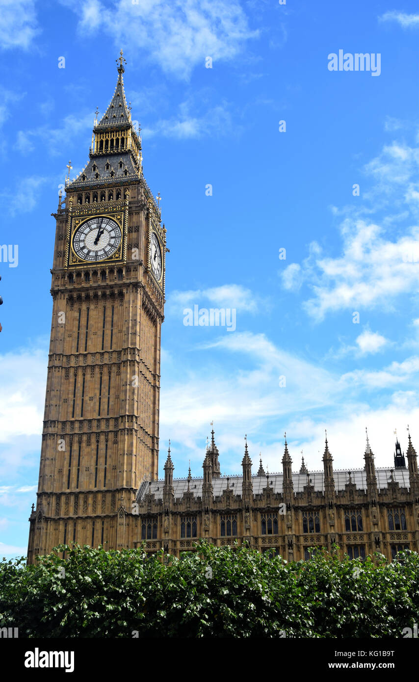 LONDON Big Ben in sunny day -Elizabeth Tower - British icon - only build- TOWER - CLOSE UP - clock and building Stock Photo