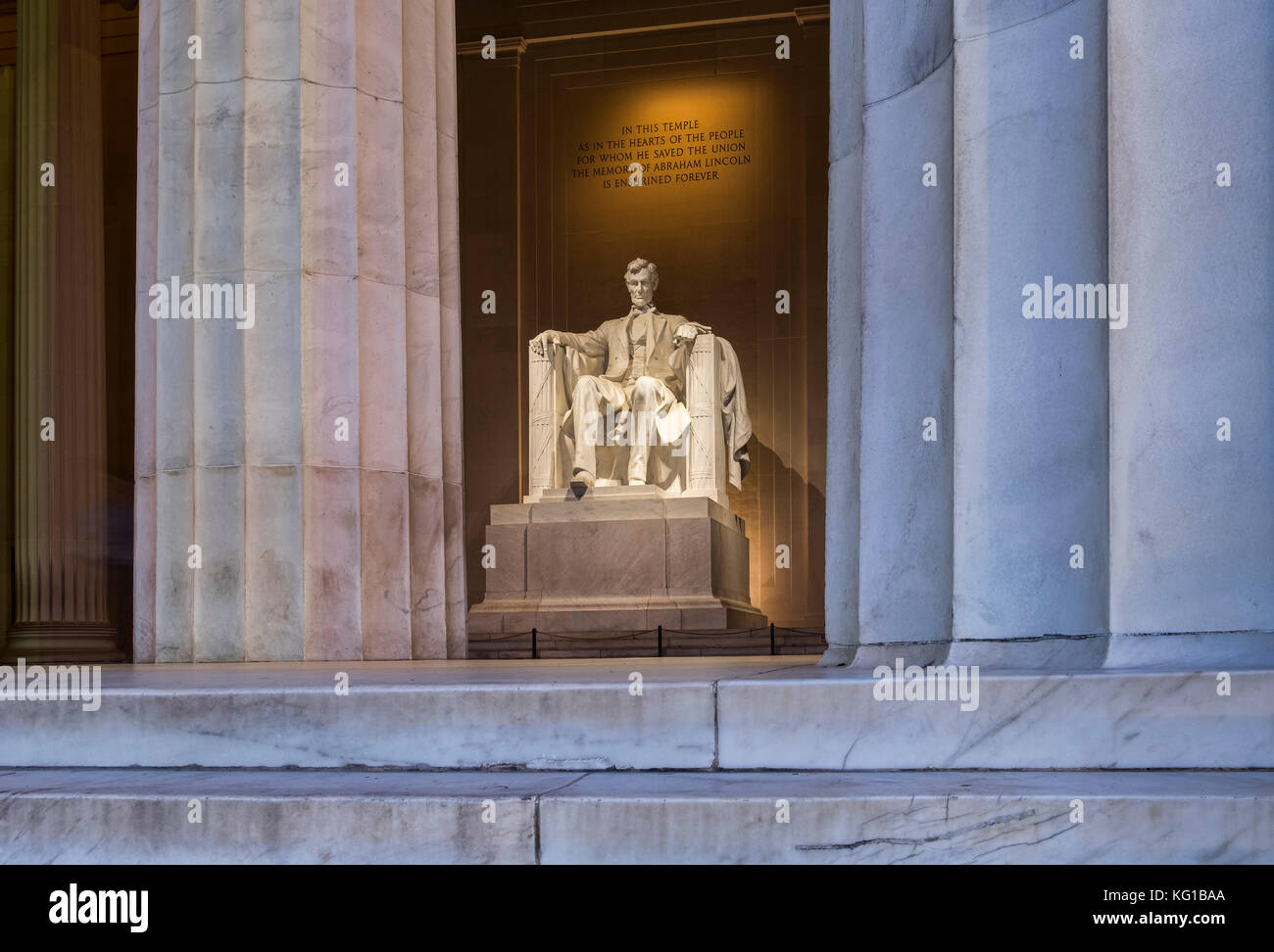 The Lincoln Memorial from the memorial steps, National Mall, Washington DC, USA - Stock Image