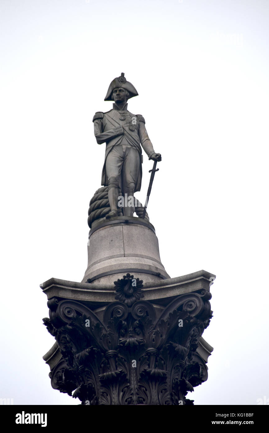 monument - Trafalgar Square- Westminster - Napoleon Bonaparte commemorates the Battle of Trafalgar, a British naval Stock Photo