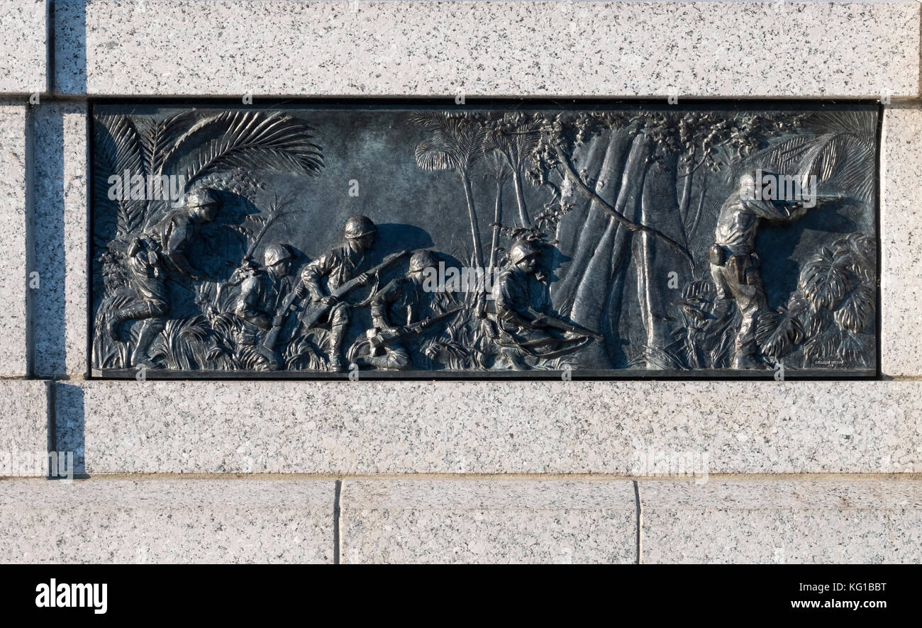 Bronze bas relief panels on the World War 2 Memorial, Washington DC, USA - Stock Image