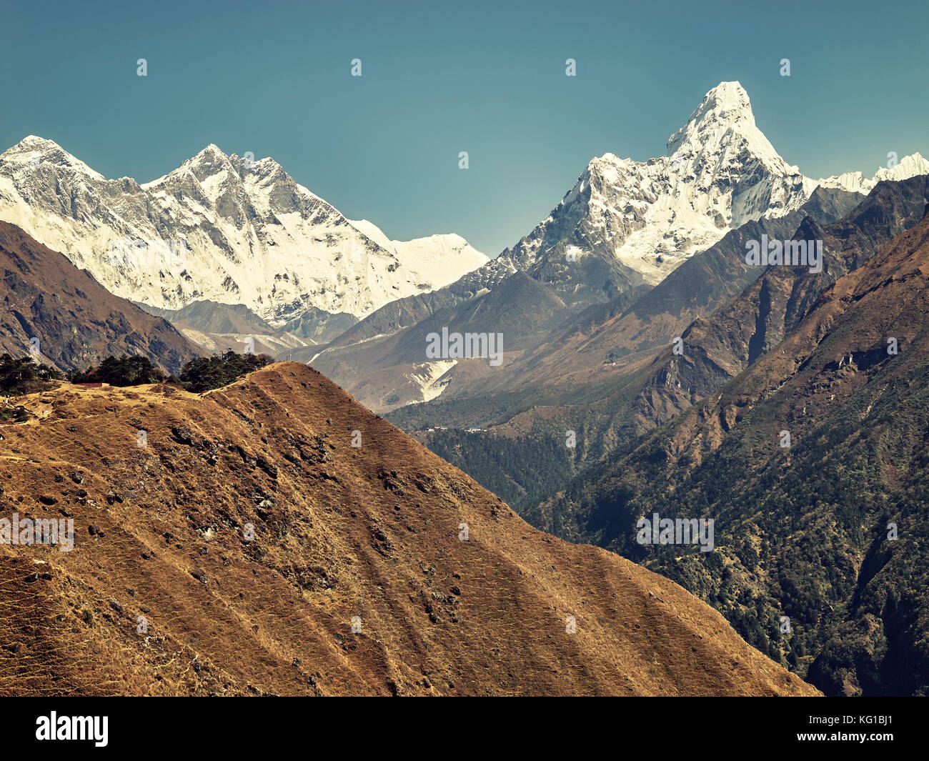 Retro stylized picture of Ama Dablam Mountain in the Everest Region of the Himalayas, Nepal. - Stock Image