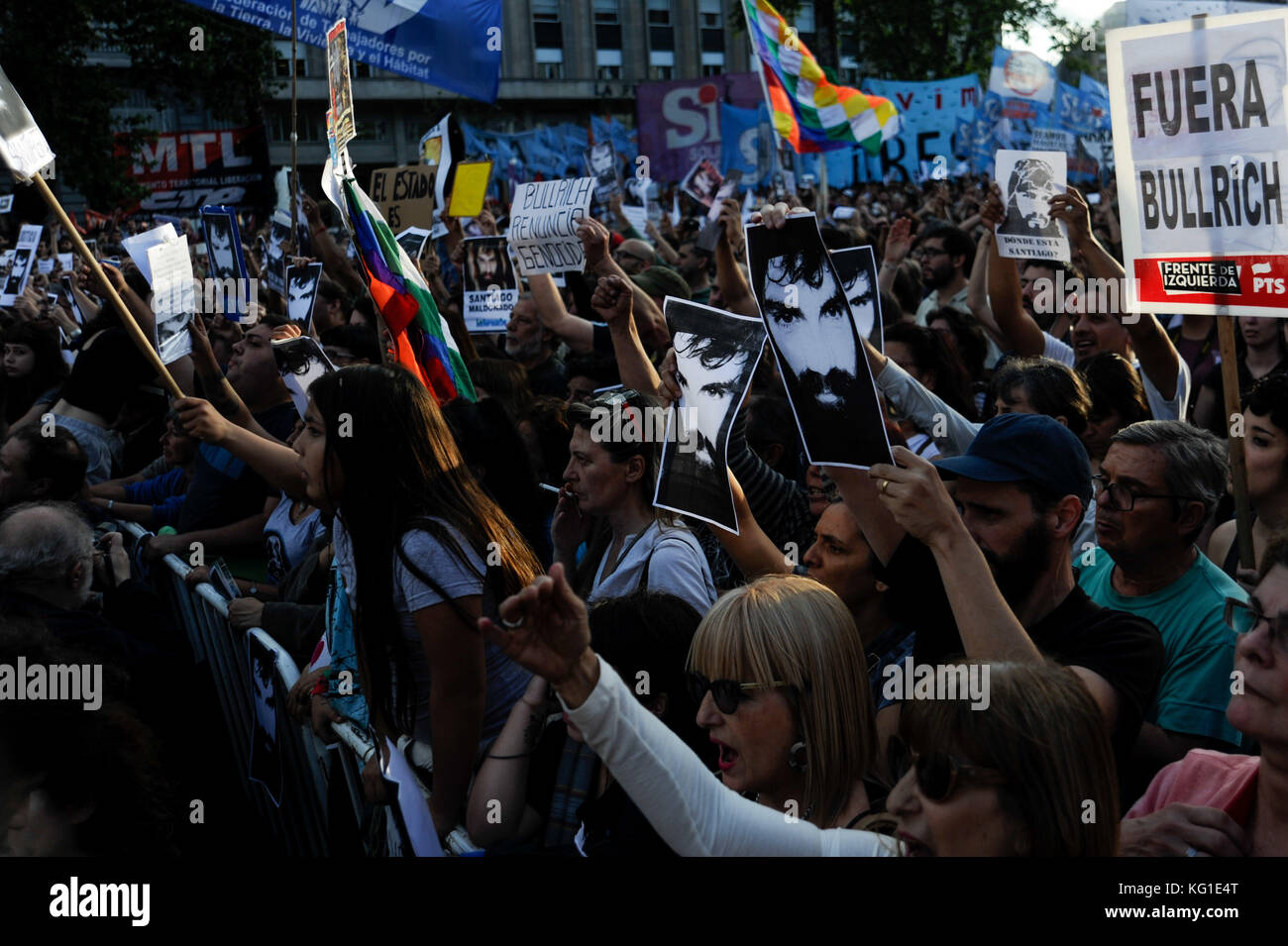 BUENOS AIRES, AR - 01.11.2017: MARCHA PELA JUSTIÇA POR SANTIAGO MALDONADO - Protesters during a march to demand - Stock Image
