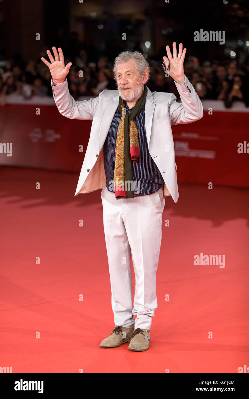 ROME, ITALY - NOVEMBER 01: Ian McKellen walks a red carpet during the 12th Rome Film Fest at Auditorium Parco Della Musica on November 1, 2017 in Rome, Italy. Stock Photo