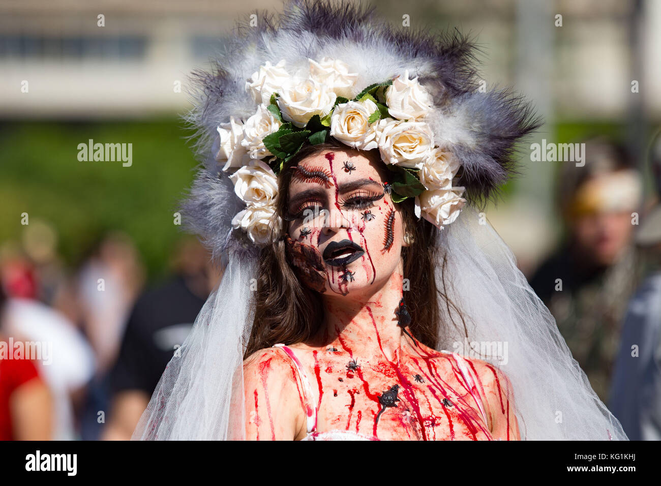 Sao Paulo, Sao Paulo, Brazil. 2nd Nov, 2017. Participants dressed in zombie costumes during the Zombie Walk in Sao Stock Photo