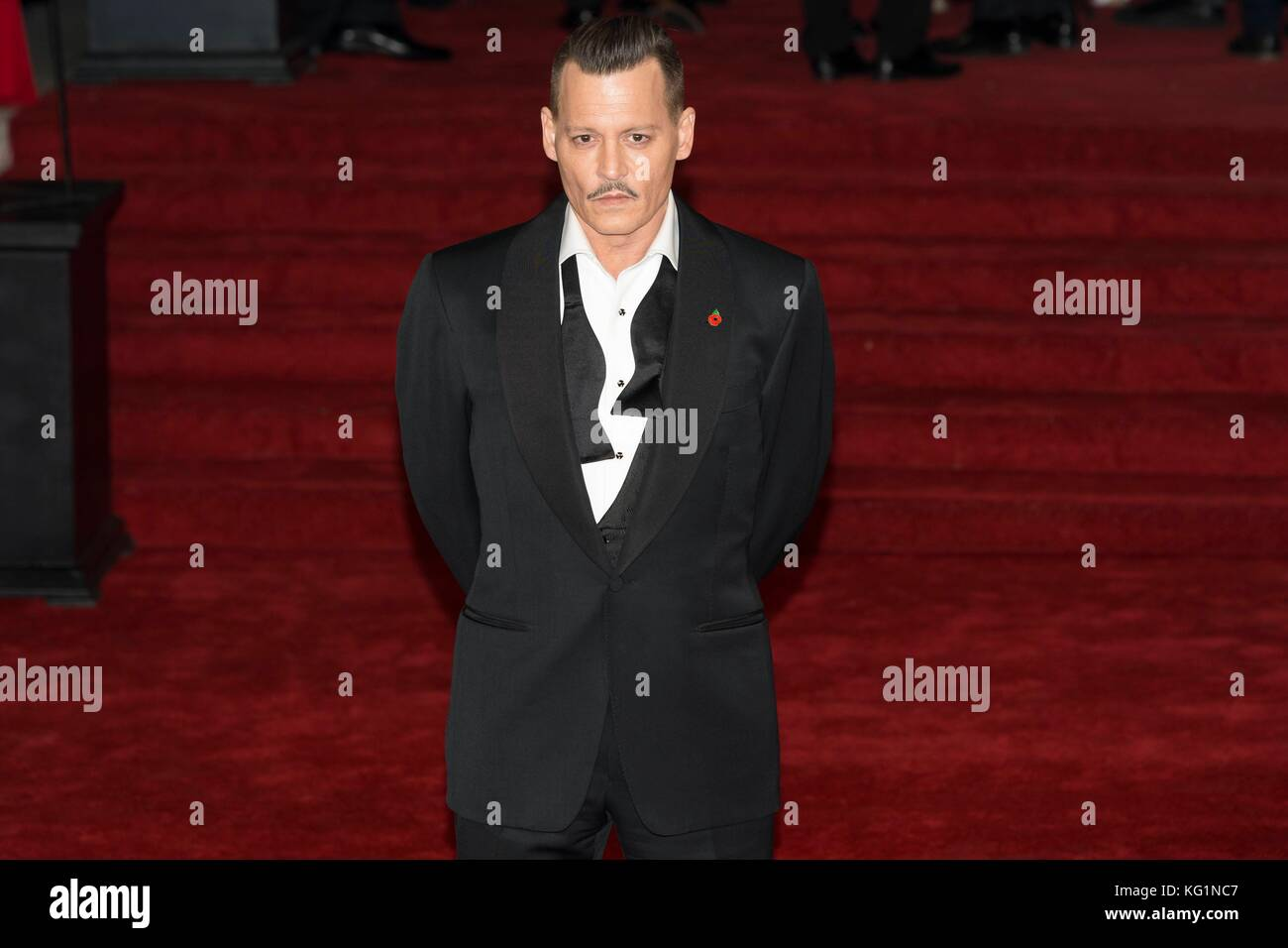 London, UK. 02nd Nov, 2017. Johnny Depp attends Murder On The Orient Express World Premiere - London, England (02/11/2017) - Stock Image