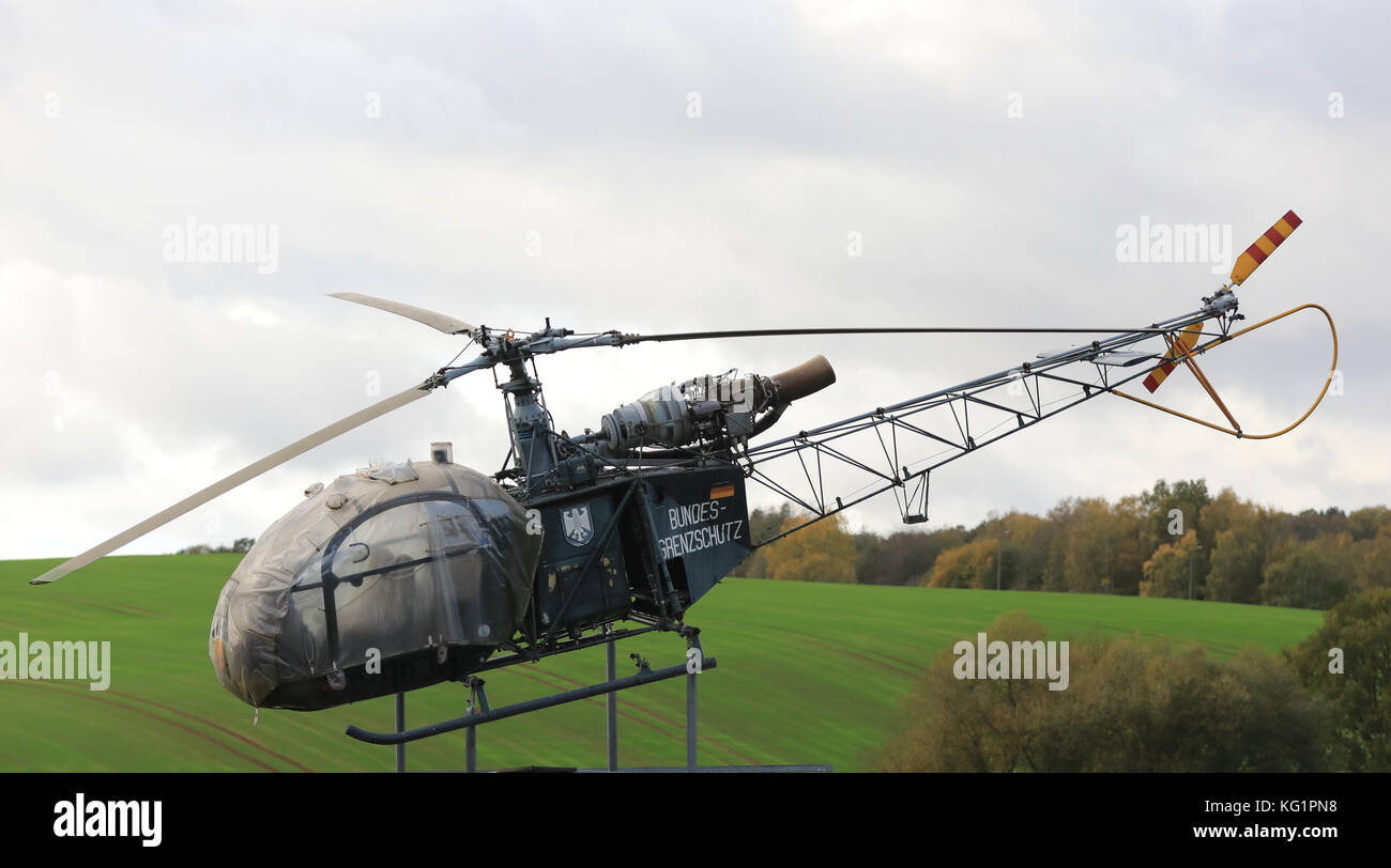 A helicopter of the Federal Border Guard is on display at the Grenzlandmuseum Eichsfeld (lit. border state museum - Stock Image