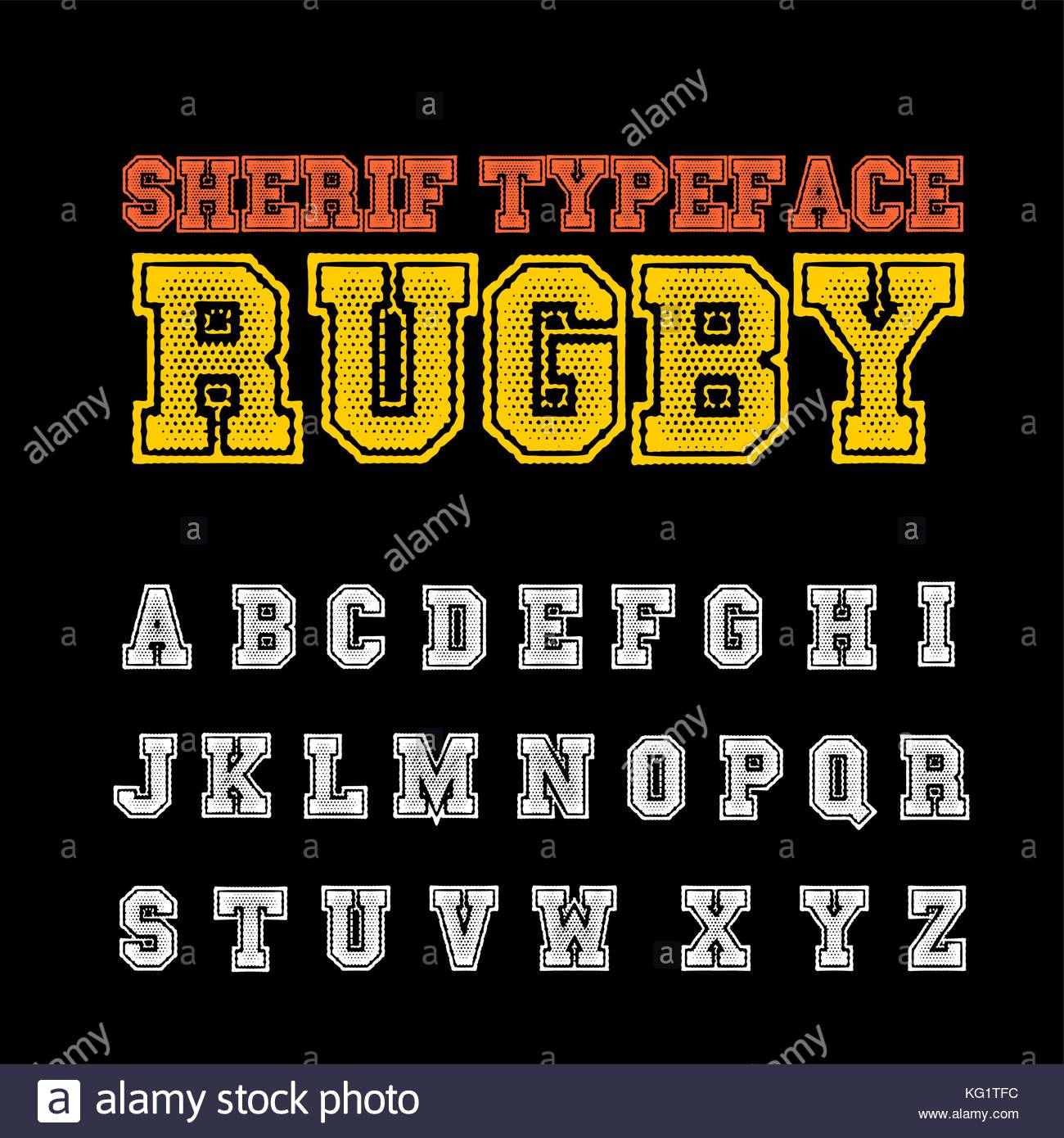 Vector Set Of Grunge Sherif Style ABC Fonts Alphabet Letter Named RUGBY