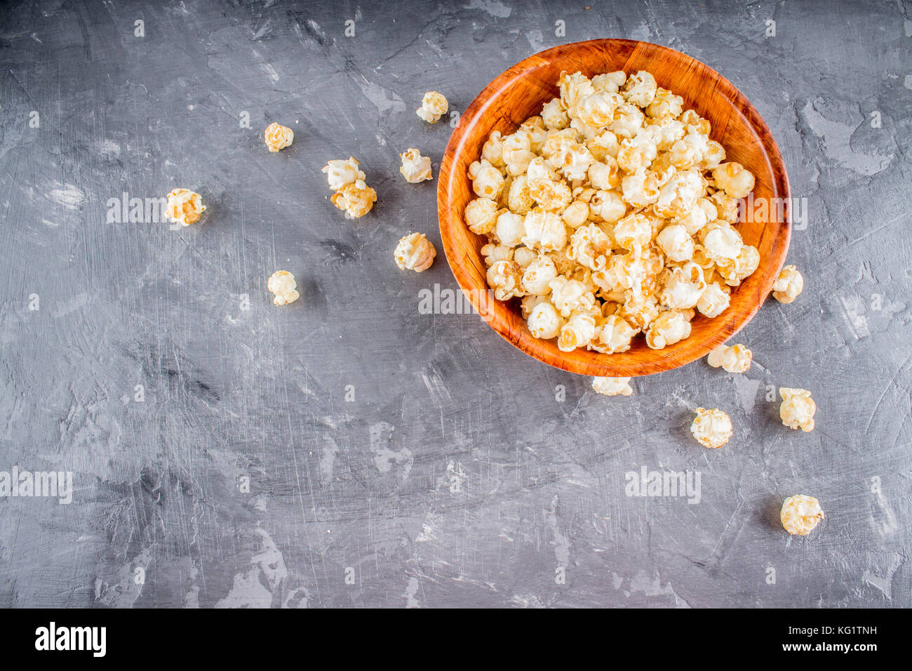 popcorn on a gray background. - Stock Image