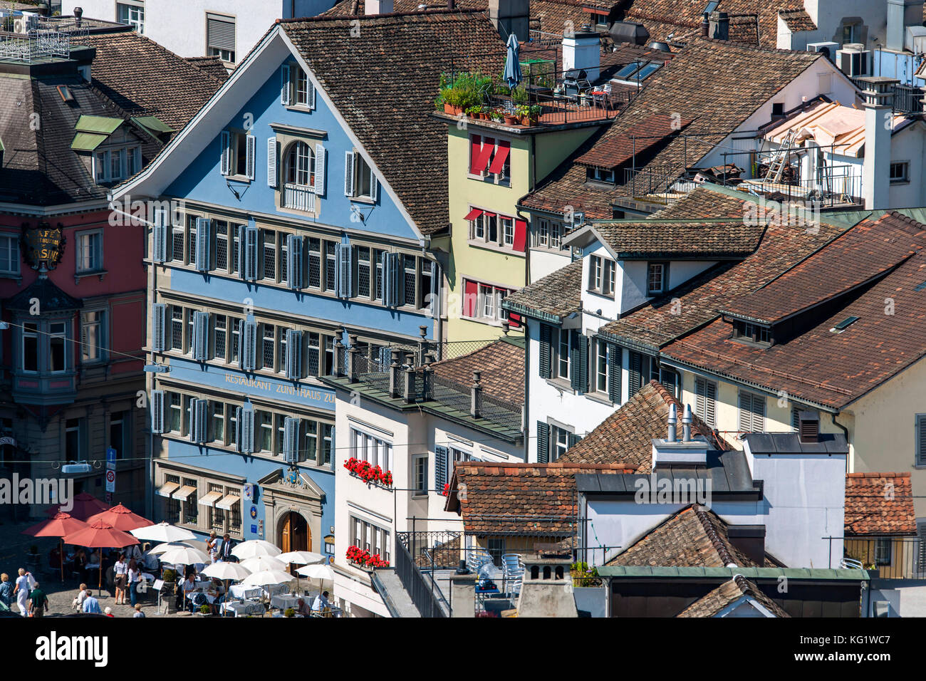 Zürich, Schweiz :  Blick vom Grossmünster - Stock Image