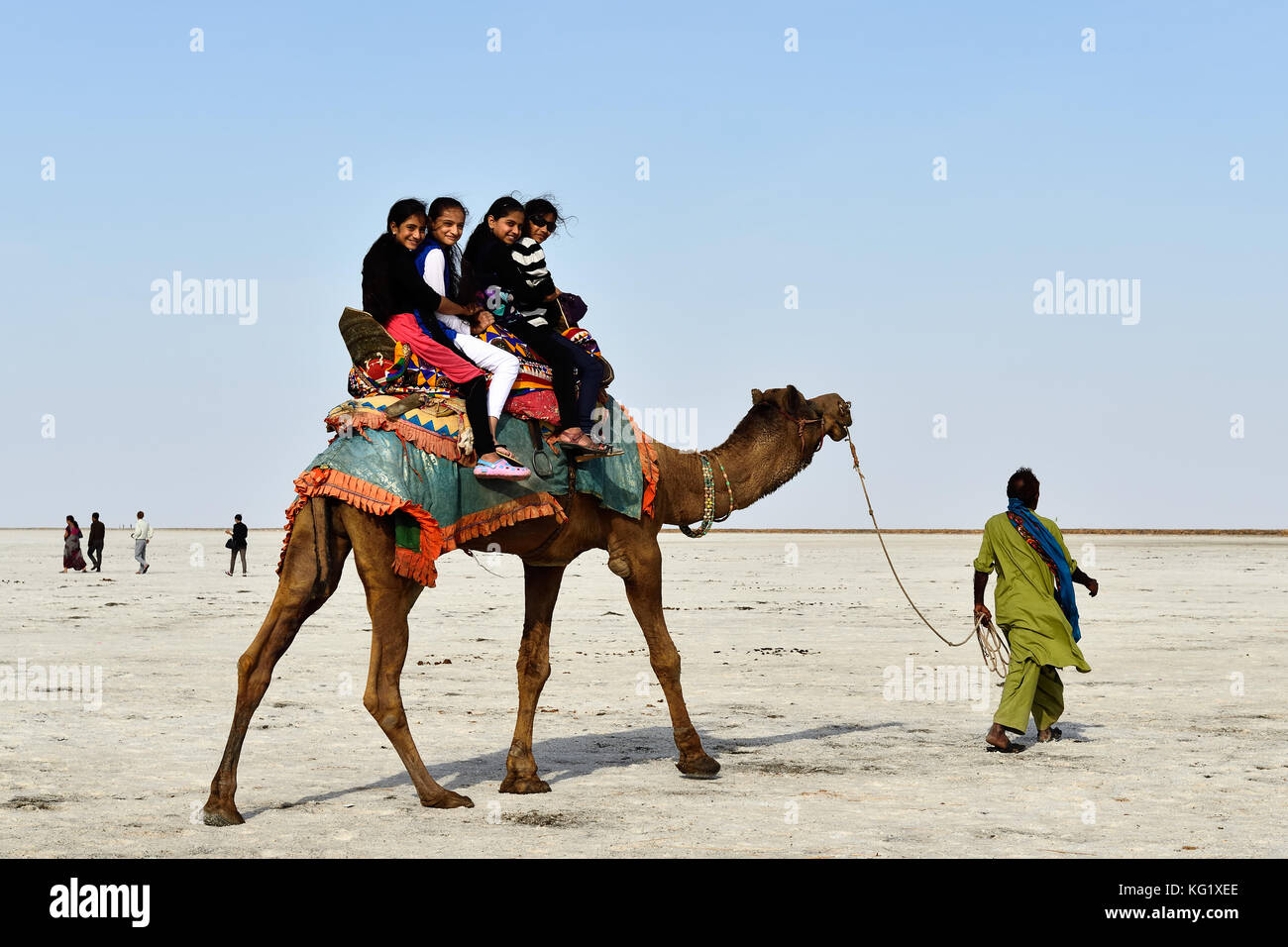 BHUJ, INDIA - 13 JANUARY 2015: Young Indian tourists on the ride on the camel on the salt desert in the state Gujarat - Stock Image
