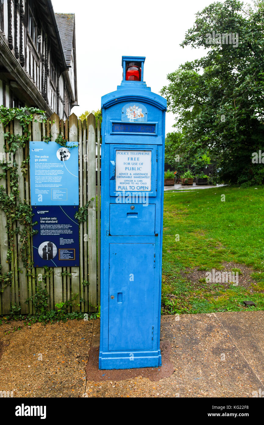 A 'Police Pillar' at the National Telephone Kiosk Collection, Avoncroft Museum of Buildings, Bromsgrove, - Stock Image