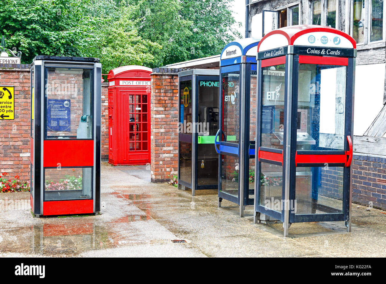 The National Telephone Kiosk Collection at the Avoncroft Museum of Buildings, Stoke Heath, Bromsgrove, Worcestershire, - Stock Image