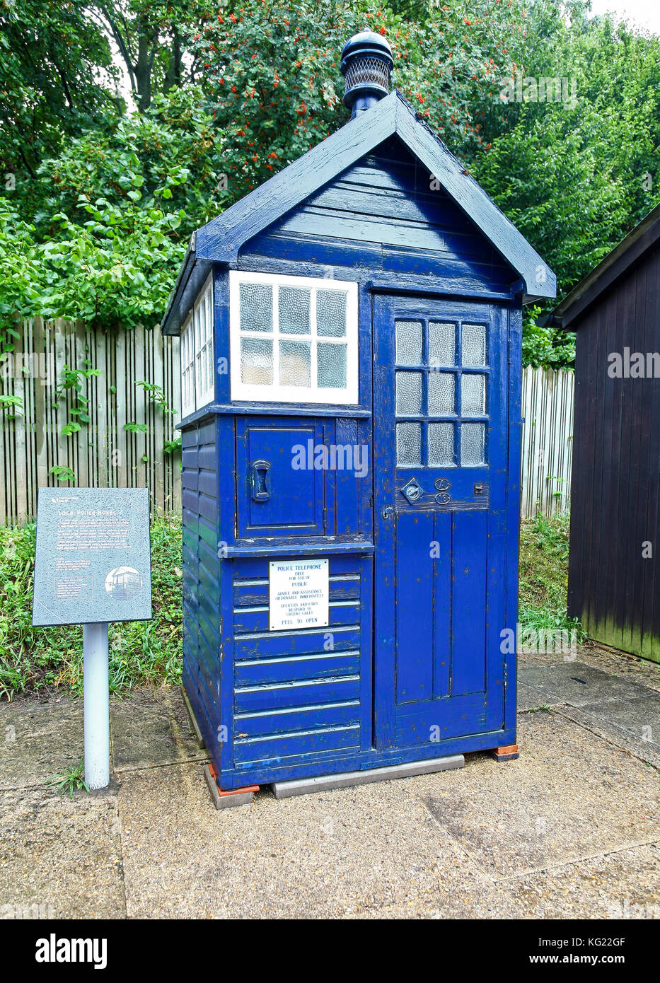 A Local police call box at The National Telephone Kiosk Collection at the Avoncroft Museum of Buildings, Bromsgrove, - Stock Image