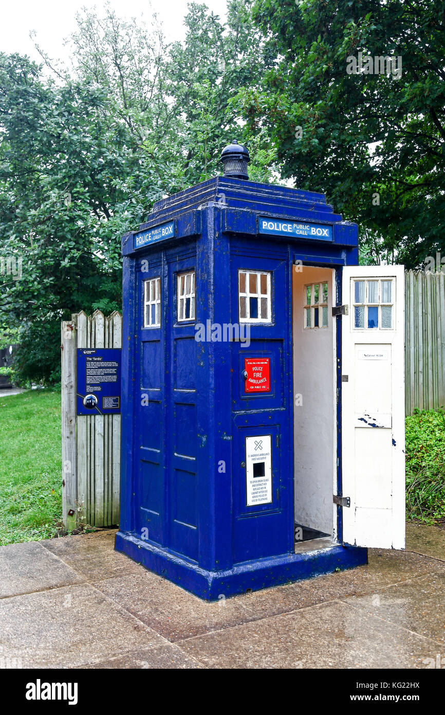 A Local police call box or 'tardis' at The National Telephone Kiosk Collection at the Avoncroft Museum of - Stock Image