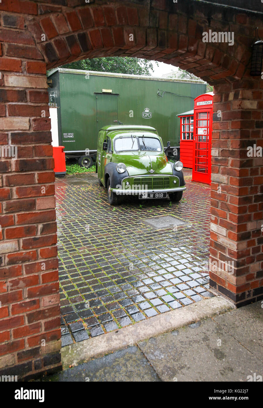 An old Morris Minor Post Office Telephones van at The National Telephone Kiosk Collection, Avoncroft Museum of Buildings, - Stock Image