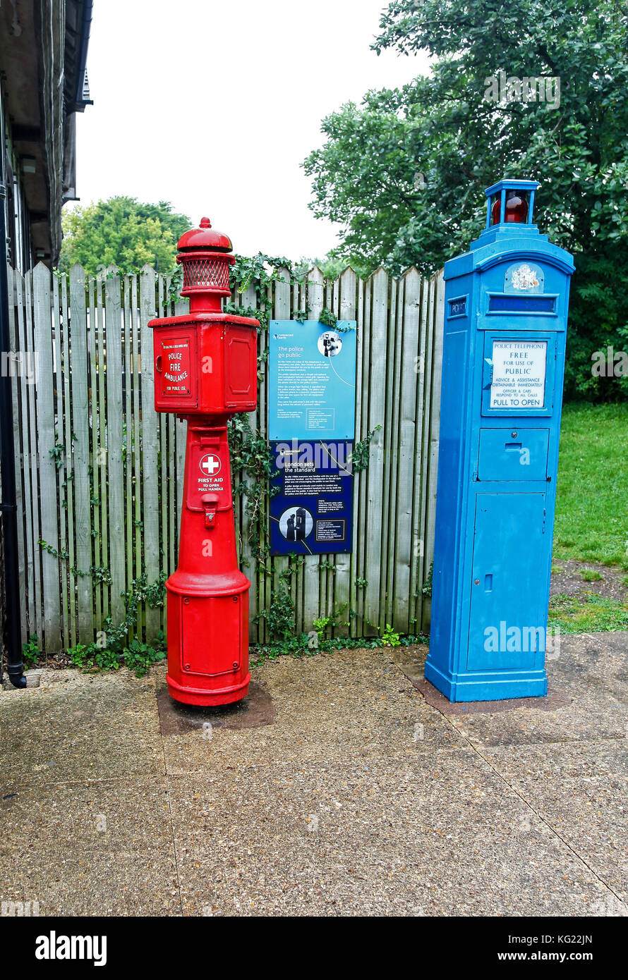 A 'Police Pillar's at the National Telephone Kiosk Collection, Avoncroft Museum of Buildings, Bromsgrove, - Stock Image