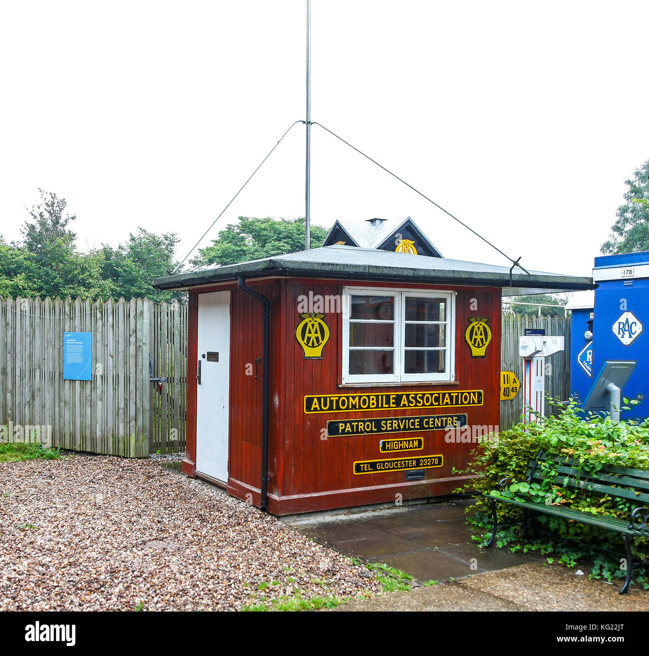 An AA Patrol Service Centre building,The National Telephone Kiosk Collection, Avoncroft Museum of Buildings, Bromsgrove, - Stock Image