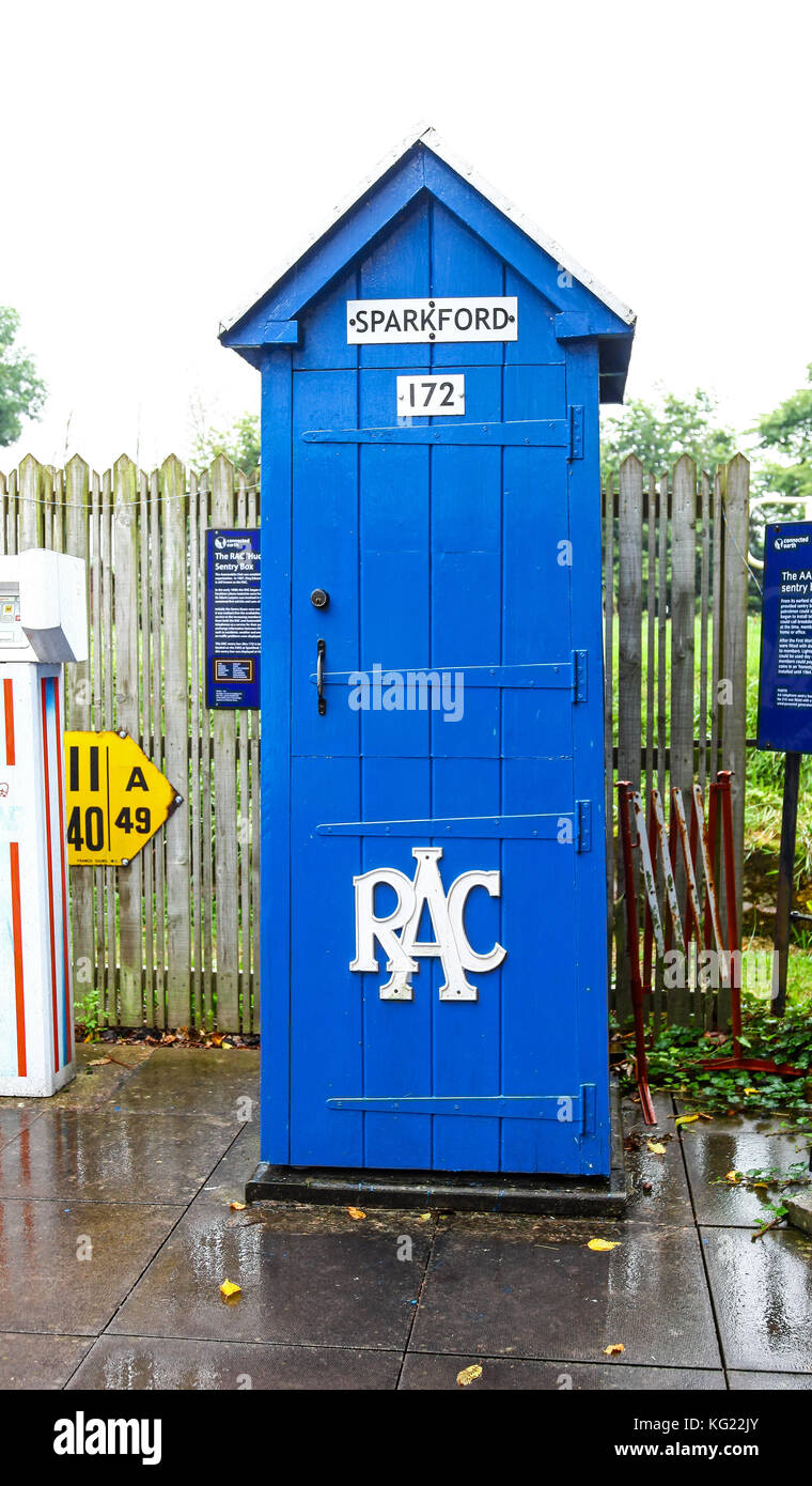 A RAC emergency phone box at The National Telephone Kiosk Collection at the Avoncroft Museum of Buildings, Bromsgrove, - Stock Image