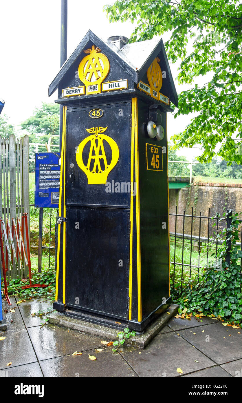 An AA Breakdown Service phone box at the National Telephone Kiosk Collection, Avoncroft Museum of Buildings, Worcestershire, - Stock Image
