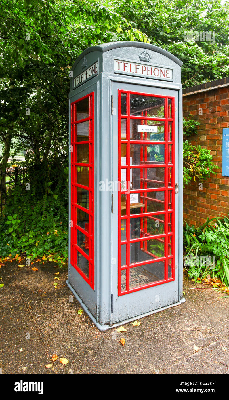 A K6 phone box painted grey at The National Telephone Kiosk Collection at the Avoncroft Museum of Buildings, Bromsgrove, - Stock Image