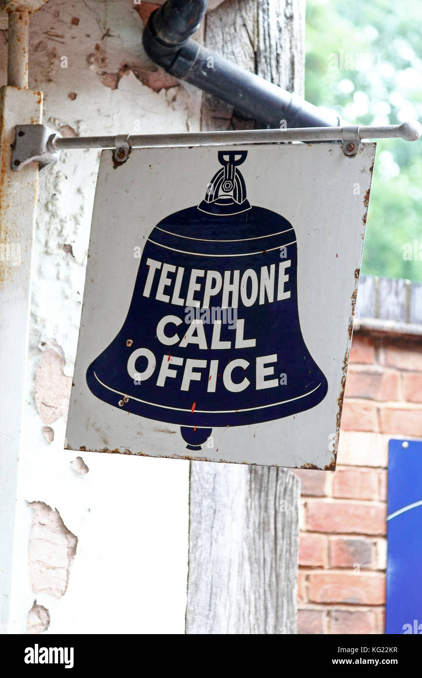 A sign saying Telephone Call Office at the National Telephone Kiosk Collection, Avoncroft Museum of Buildings, Bromsgrove, - Stock Image