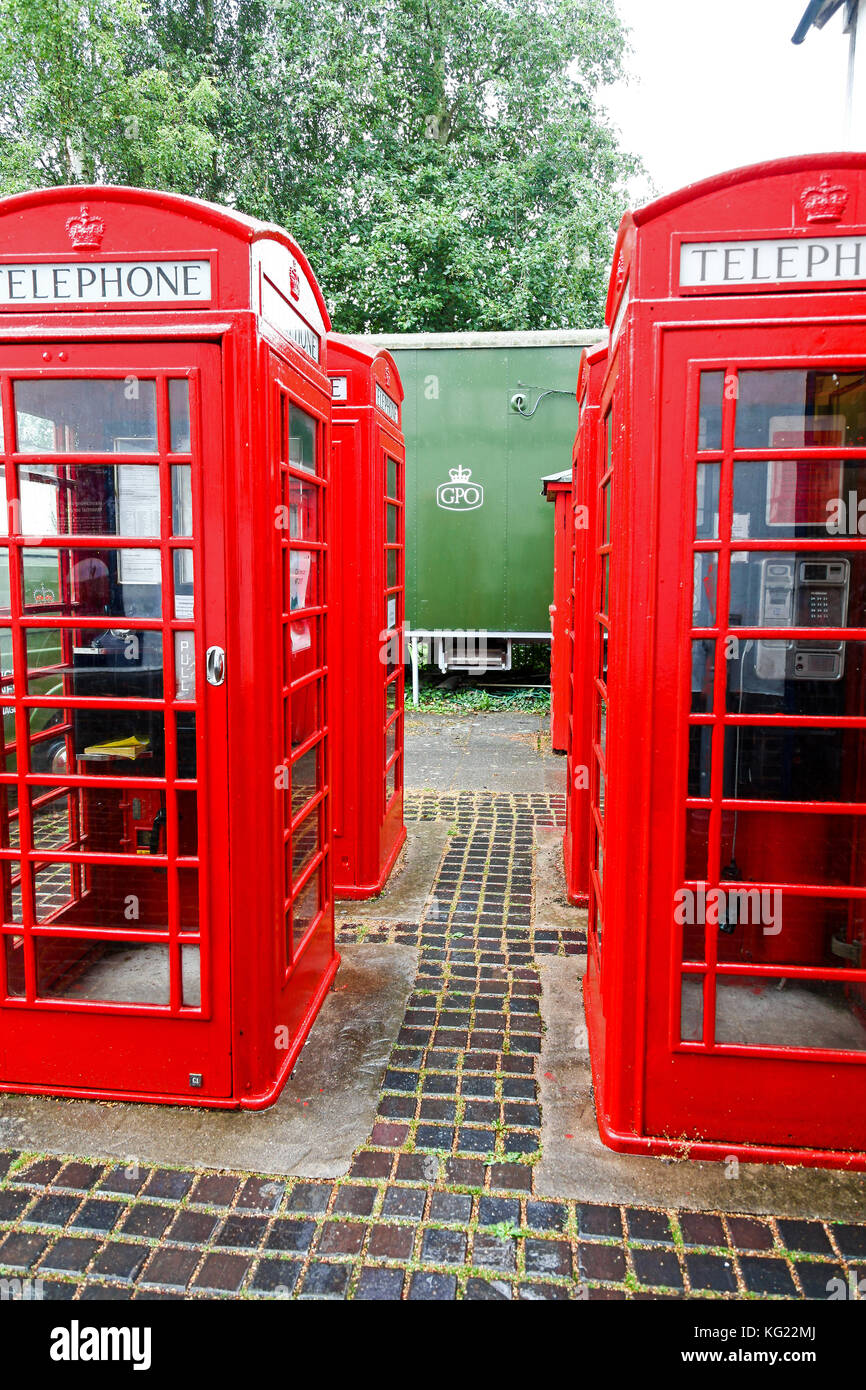 A K6 phone boxs or kiosks at The National Telephone Kiosk Collection at the Avoncroft Museum of Buildings, Bromsgrove, - Stock Image