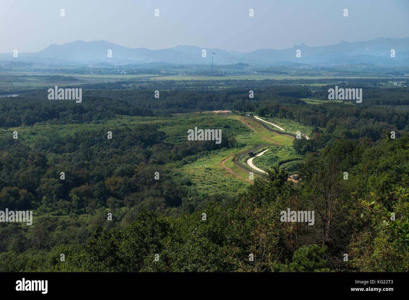 Dora Observatory, DMZ, Korea - September 8 2017: View to North Korea Propaganda village or Peace Village at Korean - Stock Image
