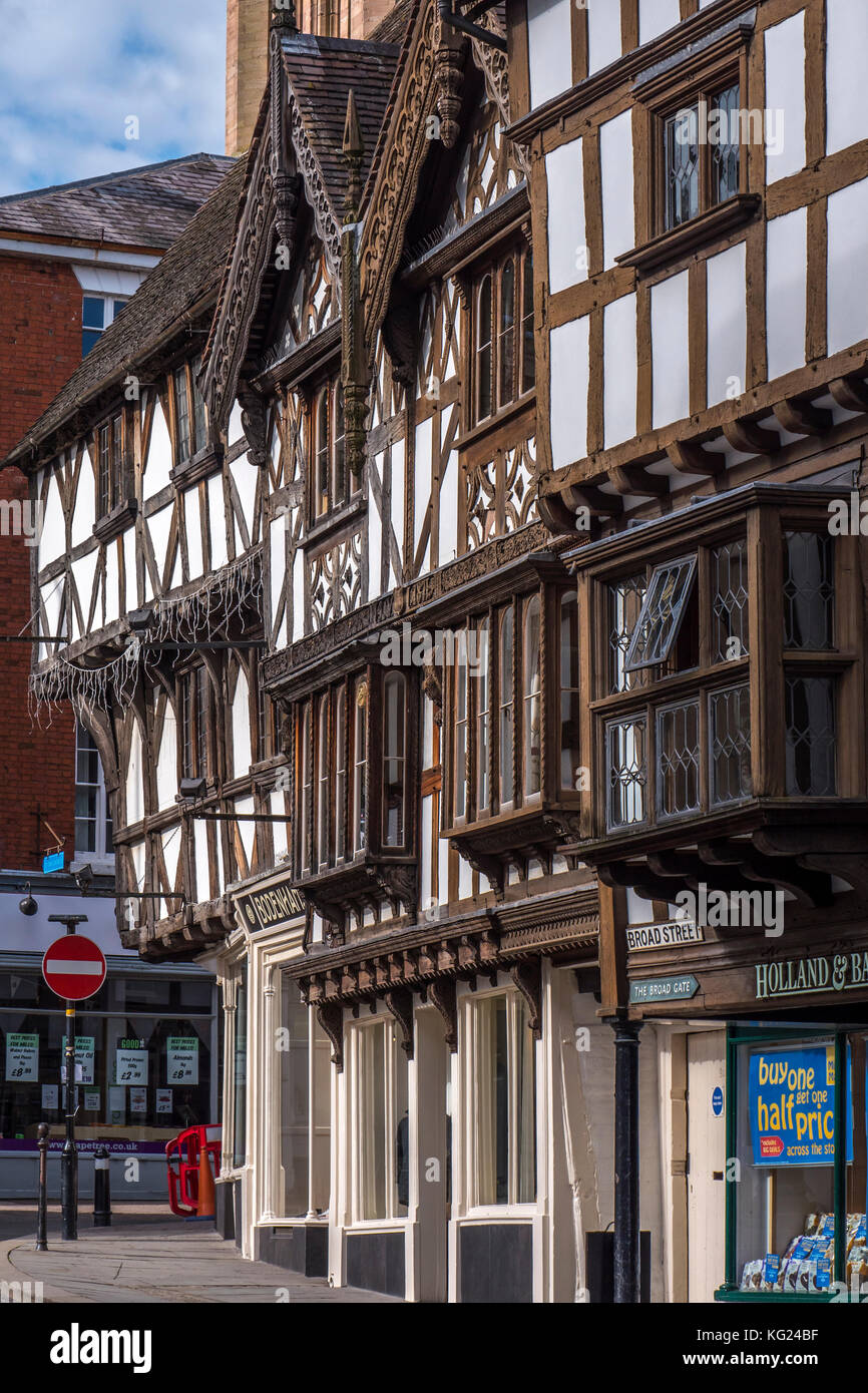 Tudor Buildings Ludlow Shropshire England Stock Photo