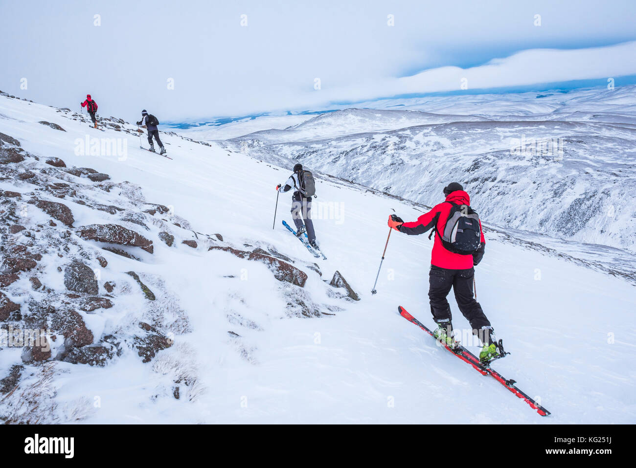 Ski touring at CairnGorm Mountain Ski Resort, Aviemore, Cairngorms National Park, Scotland, United Kingdom, Europe - Stock Image